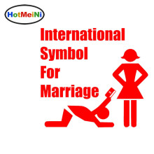 HotMeiNi New Funny courtship Cartoon styling International Symbol For Marriage Car Sticker Vinyl Decal 9 Colors Money All Seein(China)