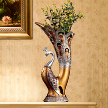 Vases Fashion creative peacock vase decoration,living room arts and crafts desk vase floor 3 color optional(China)