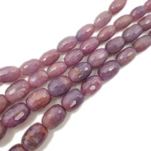 Lii Ji Natural Ruby Drum Oval Shape Faceted beads Approx 5x10mm-12x15mm DIY Jewelry Making Approx 38cm