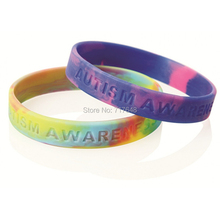300pcs autism awareness wristband silicone bracelets rubber cuff wrist bands bangle free shipping by FEDEX(China)