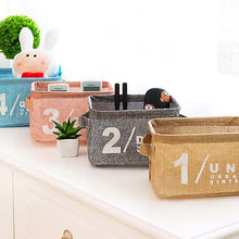 Collection Bin Cotton Linen Small Cleaning decoration Bath Toiletries Storange Baslets Fold cosmetic storage box
