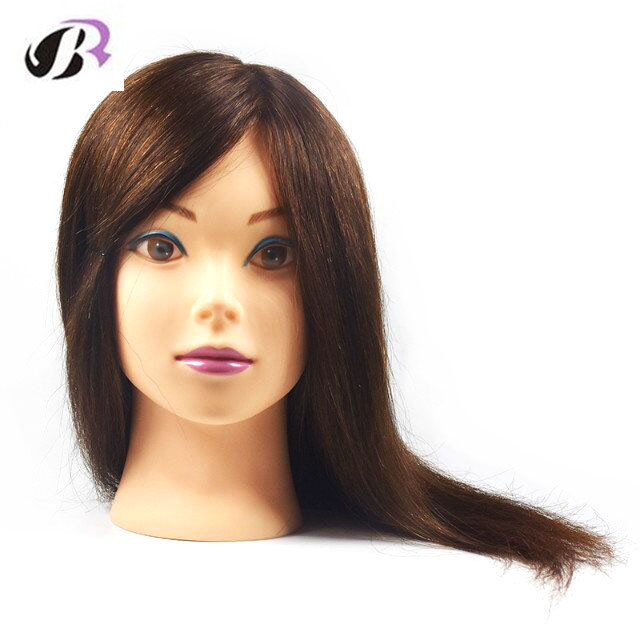 16″ Professional Styling Head with Human Hair Dummy Natural Hair Mannequin Head Head Dolls for Hairdressers Plastic Doll Head