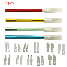 23 PCS Precision Hobby Knife Stainless Steel Blades for Arts Crafts PCB Repair Leather Films Tools Pen Multi Purpose Razor DIY