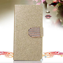 Bling Rhinestone PU Leather Case For HTC Wildfire S G13 A510e A510C Cover Original Flip Stand Wallet Phone Coque With Card Slot(China)