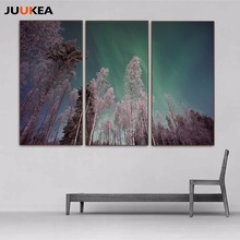 3 Panel Natural Landscape Canvas Art Print Painting, Aurora Photography Pine Tree Plant Wall Picture For Living Room, Home Decor