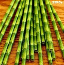 EatingBiting(R) 25Pcs/1Bag Green Bamboo Style Paper Straws Drink Eco Friendly Kids Party Gift