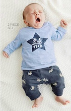 2017 New style Baby Boy Clothing Sets Long-sleeved Cartoon Star Pattern Top+Pants 2 Pcs Newborn Toddler Clothes Casual Outfits(China)