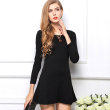 Summer style new arrival 2017 fashion Women Dress O neck full sleeve solid knited clothing 8 candy color Mini dresses 1015LY