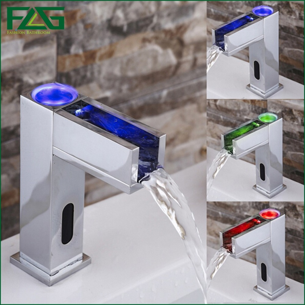FLG Water Saving Led Faucet Light 3 Colors Change Led Automatic Bathroom Basin Faucet Waterfall Sensor Cold Hot Led Mixer Taps<br><br>Aliexpress