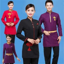 China Style National Work Clothers Versatile Shirts Catering Uniforms Chinese Restaurant Uniform Waiters Uniforms Unisex J006