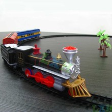 Railway electric train track plastic scale models1 87 Four railroad car train toys for Children With rail car light and sound