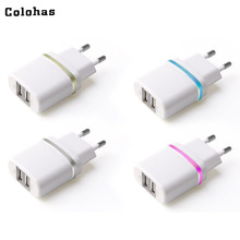 Dual Ports USB with LED Light EU Plug Travel Home Power to Wall Charger Adaptor for iPhone 4S 5 5S 6 6S 7 Plus Sony GPS Samsung(China)