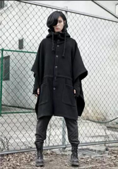 S-6XL ! Plus size Men's clothing loose medium-long woolen overcoat batwing sleeve pullover hoody cloak cloak outerwear costumes