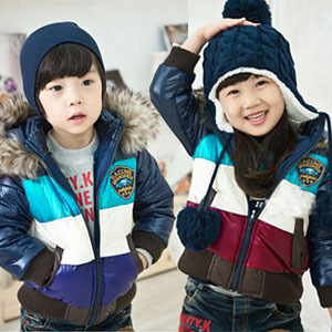 Free shipping Winter of childrens clothing baby quilted jacket coat color matching collars hooded cotton-padded jacketОдежда и ак�е��уары<br><br><br>Aliexpress