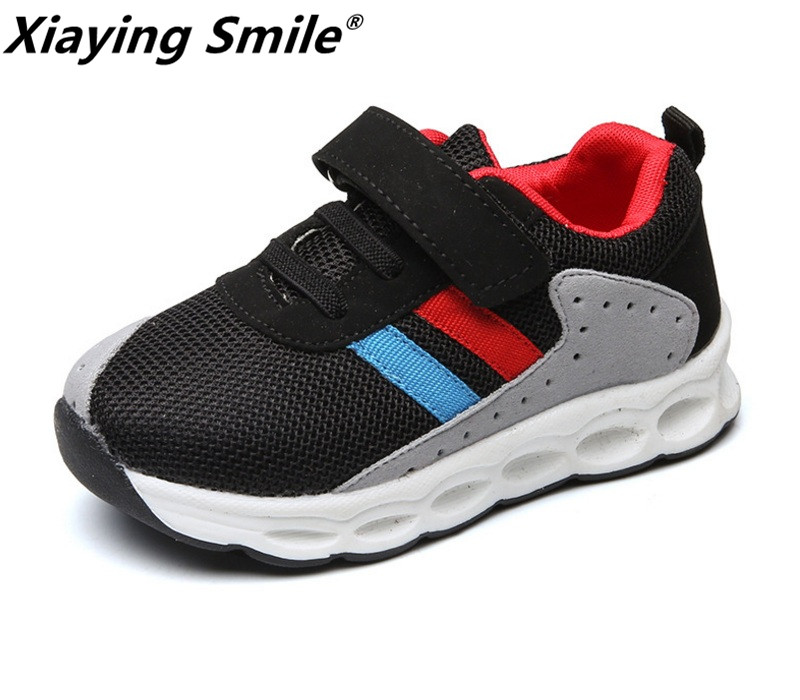 Boys Azb Girls Sport Shoes Children Sneakers Kid Shoes Flats Spring Striped Comfortable Lace Up Loop Mesh Antiskid Shoes<br>