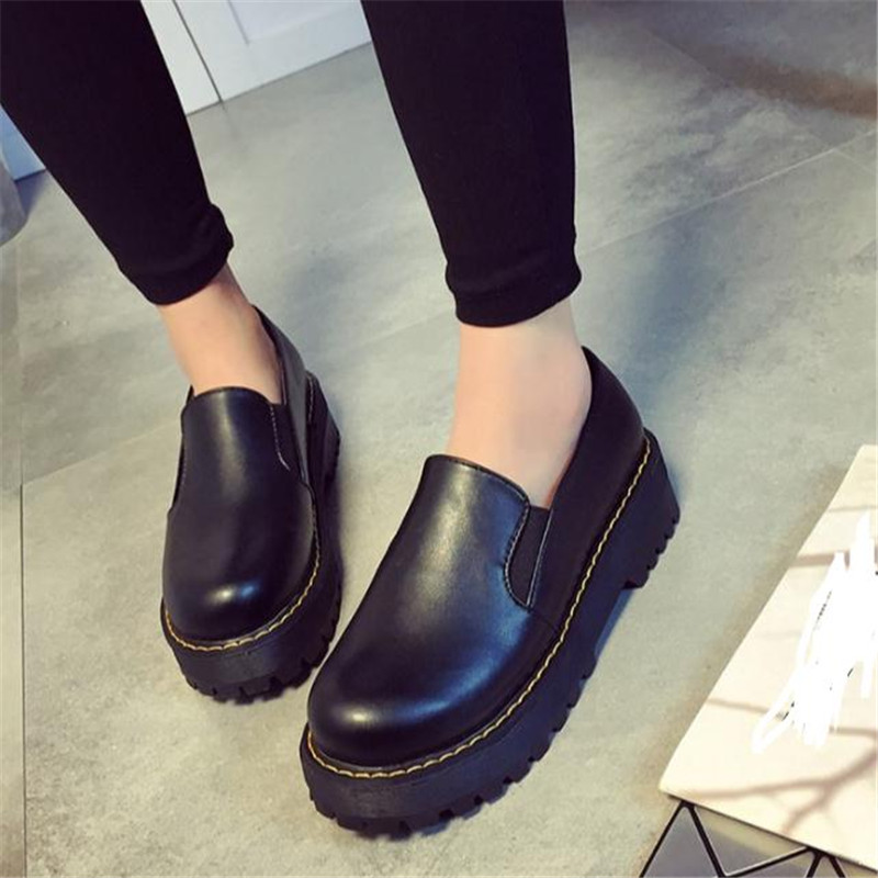 Free shipping 2017 Women oxfords shoes spring new Korean fashion lazy shoes leather cake female moccasins Ladies Casual shoes<br><br>Aliexpress