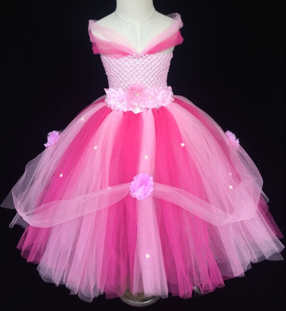 Beautiful Girls Pink Princess Dress Kids Fluffy Crochet Tutu Dress Ball Gown with Flower Headband Children Wedding Party Dresses<br>