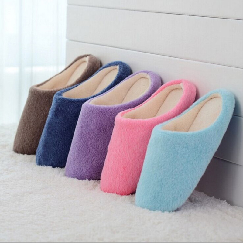 DreamShining Winter Solid Candy  Color Cute Flat Home Shoes Women Men Winter Soft Slippers Plush Couple Home Shoes <br><br>Aliexpress