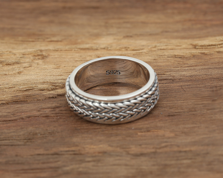Awesome 925 Sterling Silver Rope Ring S925 brand