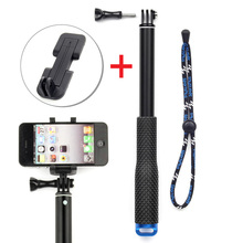 SOONSUN 37'' Telescopic Extendable Monopod Pole + Smart Phone Clip Holder for Cell Phone and GoPro Hero 2 3 3+ 4 Camera