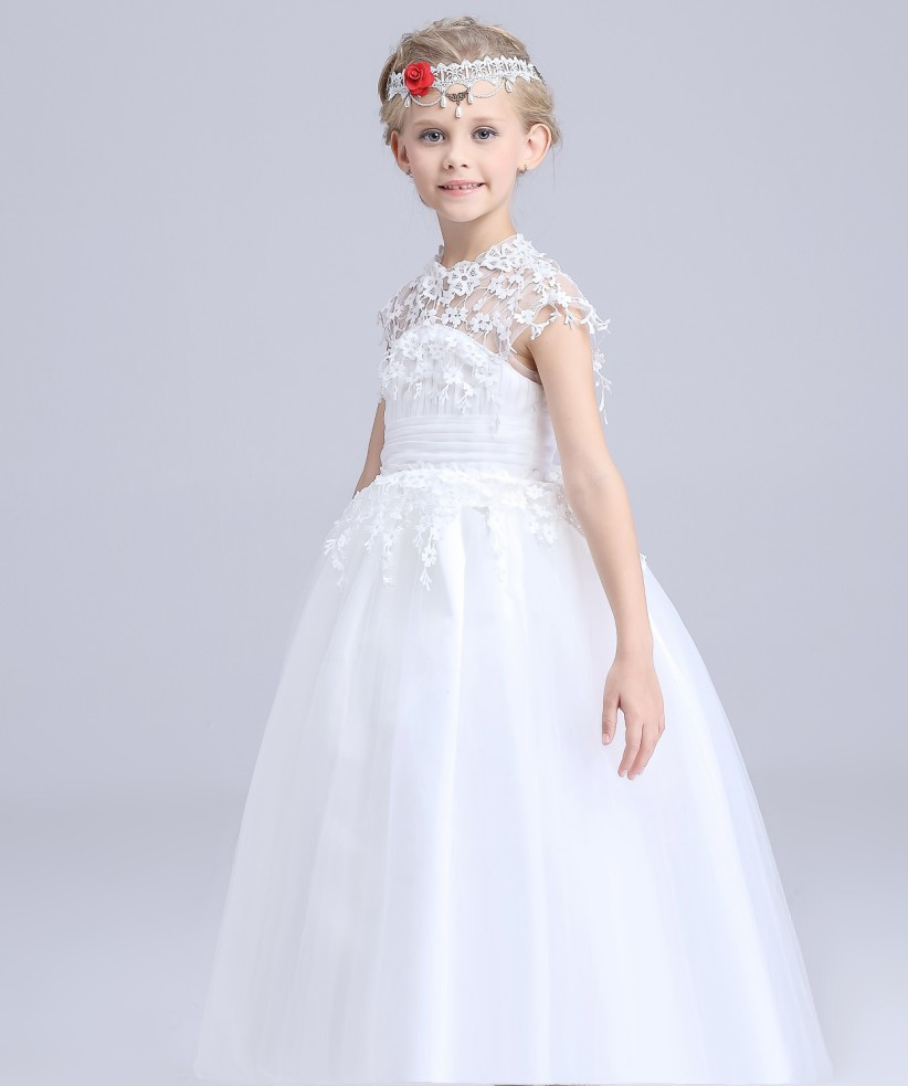christmas party dress ball gowns for girls wedding dress girl princess long white longsleeve graduation kids formal lace dress<br>