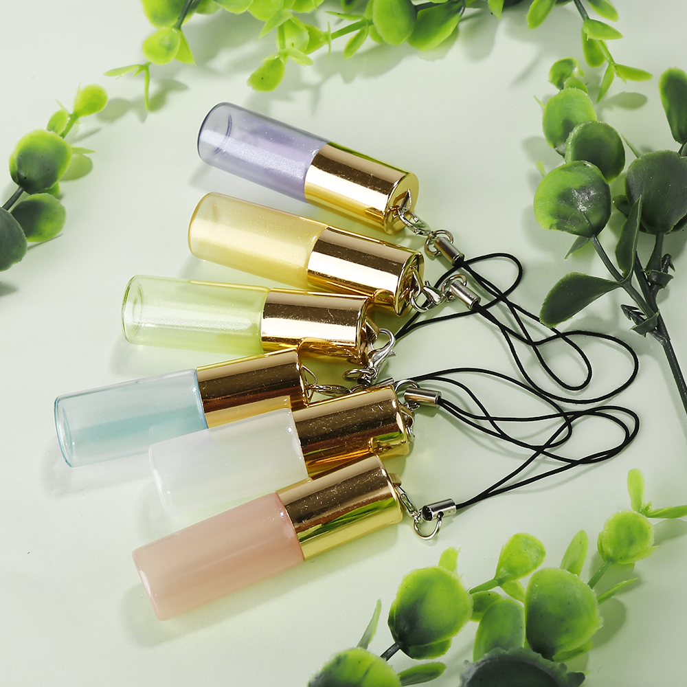 2017 Mini 5ml Travel Pot Portable Empty Refillable Glass Sample Roll on Bottle with Pendant For Essential Oil Liquid Perfume(China)