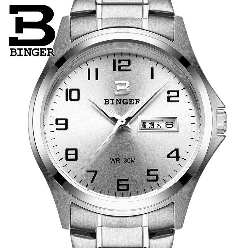 2017 Switzerland luxury mens watch BINGER brand quartz full stainless clock Waterproof Complete Calendar Guarantee B3052B2<br>
