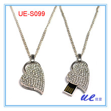 2GB,4GB,8GB,16GB Heart shaped Necklace Gift usb flash drive, free shipping