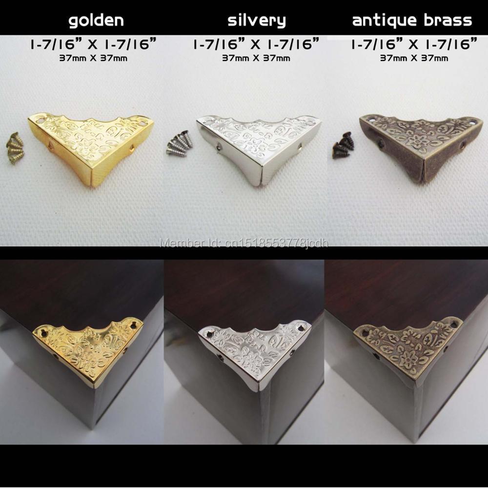 12pc Metal Decorative Jewelry Chest Wine Box Wooden Table Desk Picture Photo Frame Furniture Edge Corner