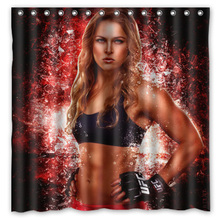 Hot Custom Fashion Bath Products /Waterproof Ronda Rousey Print Bathroom Curtains/ Decor Shower Curtain 180*180cm(China)