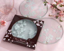 Glass Coasters in Round White Plum blossom Patterns Design Glass Cup mat 2pcs in one package wedding souvenir Party Favor
