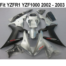 Motorcycle Injection Fairing Kit Fairings kit Bodywork Matte Black Silver For Yamaha R1 YZF YZFR1 YZF1000 2002 2003 YZF-R1 02 03(China)