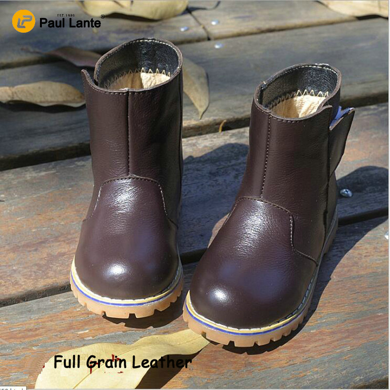 2017 Children Casual Genuine Leather Boots Kids Winter Warm Kids Handmade Fashion Ankle Boots Flat Shoes Casual Kids Snow Boots<br><br>Aliexpress
