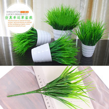 7 Branches 1x Green Imitation Fern Plastic Artificial Grass Leaves Plant for diy Home Wedding Decoration Arrangement NO VASE