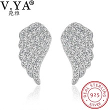 V.YA 925 Sterling Silver Earrings for Women Fashion Crystal Stud Earrings Angel Wings Design for Girls Ladies