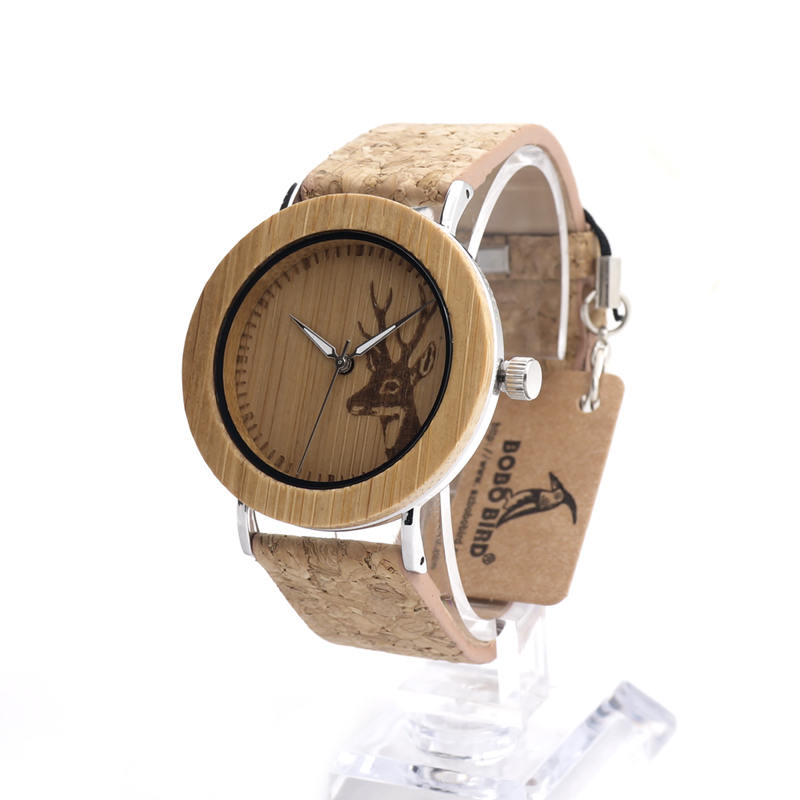 BOBO BIRD E20 Mens Bamboo Wood Wristwatch Engraved Deer Bamboo Dial Stainless Steel Case Quartz Watch with Wood Grain Strap<br><br>Aliexpress