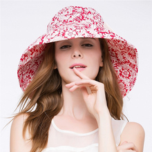 Queen Red Women Summer Cotton Hat Floral Curling Wide Brim Ladies Beach Sun hats Fashion Bowknot Hat