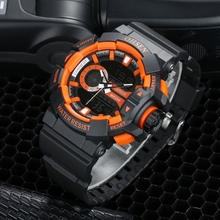 Dropshipping OHSEN digital quartz fashion mens wristwatch silicone band orange LCD alarm date display 50m waterproof sport watch