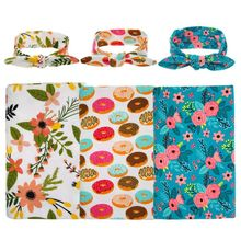 1 Set Sweet Unisex Girls Boys Floral Comfortable Organic Knit Cotton Headband & Swaddle Blanket Burp Cloth Hair Accessories