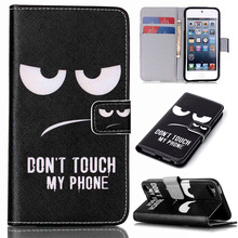Customized!Flip PU Leather+Silicone Cover Magnetic Wallet Case For Apple iPod Touch 5th 5g Gen Phone Cases for Kids w/Card Slots