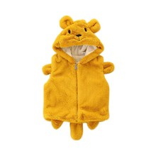 Baby Winter Solid Color Vests Tops Kids Cute Cartoon Coats Tie Toddler Warm Outwear Boys Girls Fashion Solid Waistcoats