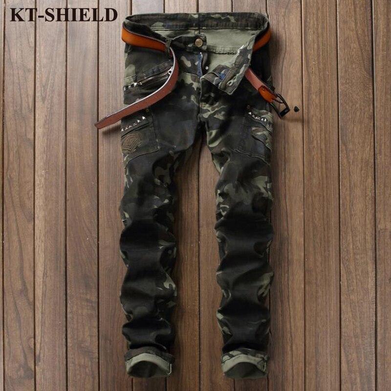 Army green Men Denim Pans Camouflage Jeans Mens Fashion Brand Designer Slim Fit Trousers Male Cotton Zipper Jeans Pants HommeÎäåæäà è àêñåññóàðû<br><br>