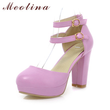 Buy Meotina Rome Shoes Women Pumps Ladies Shoes Round Toe Two Piece Chunky High Heels Gladiator Shoes Solid Purple Green Size 34-43 for $25.13 in AliExpress store