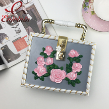 Vintage painting pink rose ladies mini tote fashion box handbags gold & grey clutch evening bag women shoulder Bag(China)