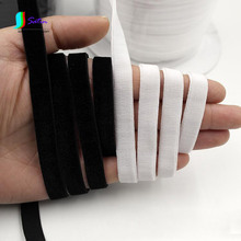 1CM/10MM Width White and Black Single-sided Velvet Elastic Band,Sewing DIY Material Underwear Bra Elastic Shoulder Strap S0231L(China)