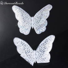 DoreenBeads 1PC Polyester Appliques Patches DIY Scrapbooking Craft Butterfly Animal White Sequined T-shirt Clothes Decoration