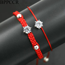 BPPCCR 2pcs/set Trendy Shiny Crystal Red Rope String Braid Bracelets For Women Silver Color Lucky Chakra Lovers Jewelry Pulsears