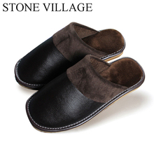 Genuine Leather Shoes Men Women Winter Home Slippers Non-Slip Rubber Thick Warm Cotton Slippers Women Men High Quality(China)