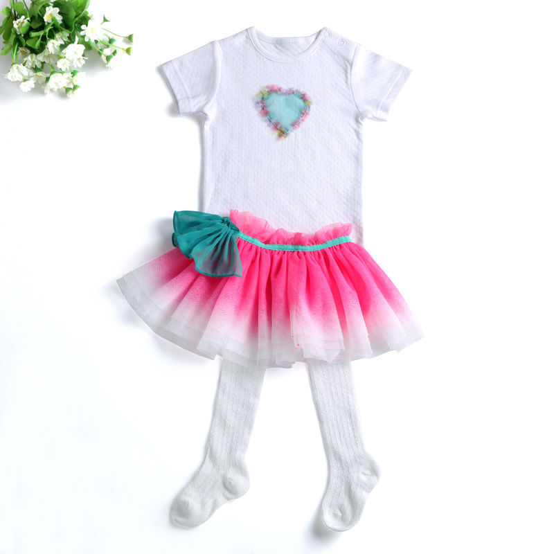 2017 Spring Suits Baby Girl Summer Clothes Newborn Cute Tutu Skirts+Babysuits Romper Sock 3 pieces Infant Clothing Set For Girls<br><br>Aliexpress