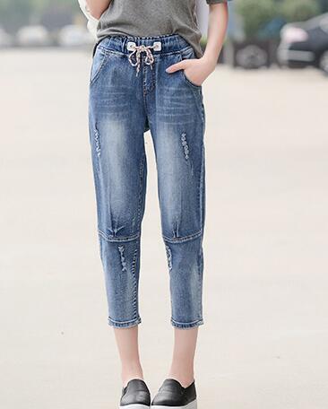Hole capris casual plus size elastic waist harem pants for woman denim jeans loose summer spring autumn female trousers xlh0601Одежда и ак�е��уары<br><br><br>Aliexpress